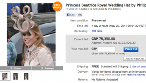 Princess Beatrice's Hat Bid Nears $100,000 on Ebay